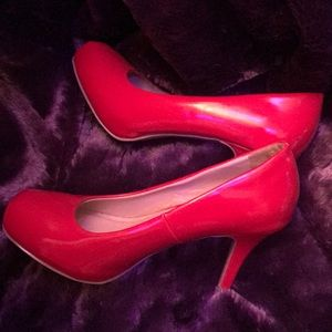 Red low platform red pumps by Mossimo.